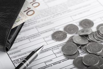 Obraz Dokumenty firmowe i pieniądze. Rachunkowość i biznes - fototapety do salonu