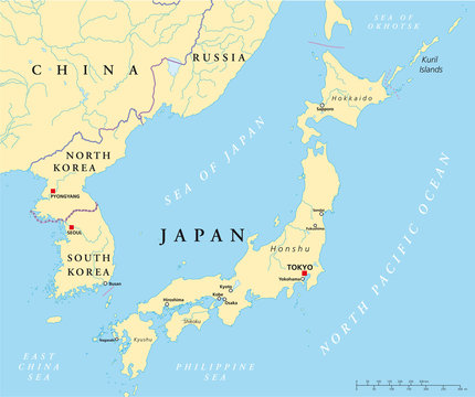 Japan, North and South Korea political map with capitals Tokyo, Pyongyang and Seoul, with national borders, rivers and lakes. Illustration with english labeling. Vector.