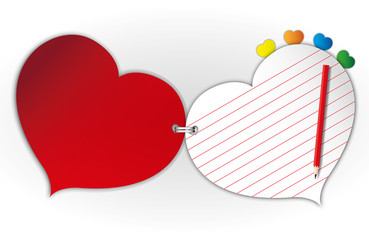 Sweet heart paper pad and red pencil.