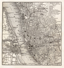 Vintage map of Liverpool