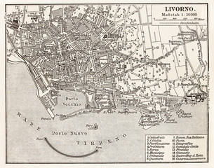 Vintage map of Livorno