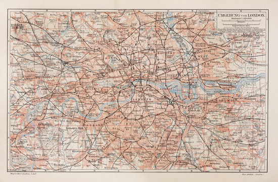 Vintage map of London and surroundings