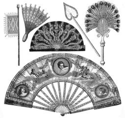Vintage fans types drawing from 19th century
