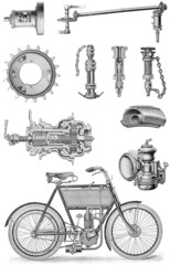 Vintage motorcycle drawing and engine parts
