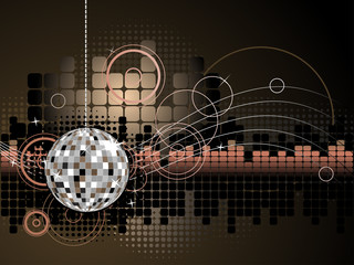 Urban Music Disco Ball Background - Vector