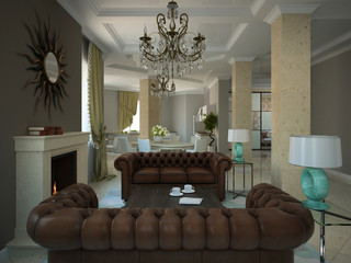 Part of the living-room in the modern country-house