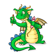 Funny green dragon holding fireworks - in vector