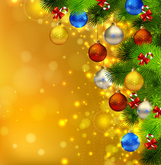 bright Christmas background with fir tree