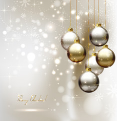 elegant glimmered Christmas background with evening balls