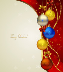 red Christmas background with colored evening balls