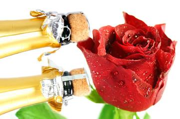 Sekt und Rote Rose