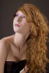 Elegant red hair woman portrait