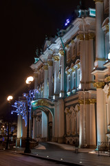 Winter Palace at night, St. Petersburg, Russia