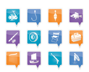 Fishing and holiday icons - vector icon set