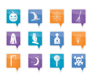 halloween icon pack  with bat, pumpkin, witch, ghost, hat