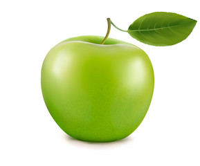 Fresh green apple with green leaf. Vector.