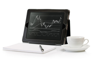 Digital Tablet with a stock chart