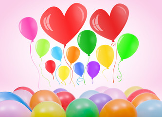 Valentines day or birthday card with balloons