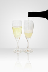 Refilling a Champagne glass