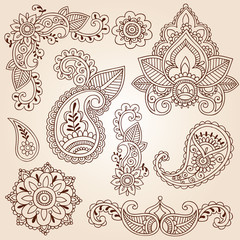 Henna Mehndi Doodles Paisley Design Elements