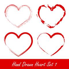 Hand drawn heart set 1