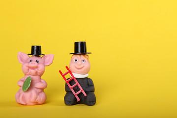 Schwein und Schornsteinfeger wünschen Glück