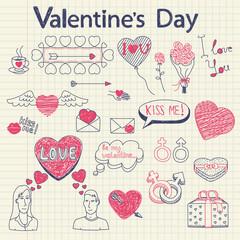 Valentine doodles set. Vector illustration.