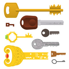 Set of different keys. Vector illustration.