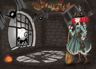Illustration with a lock and a witch for Halloween