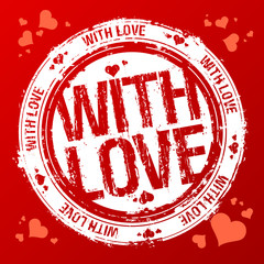 With love vector rubber stamp
