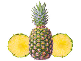 Pineapple with two slices