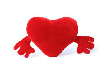Plush valentine's heart isolated on white