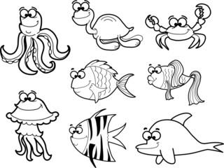 Морские рыбы, векторные иллюстрации