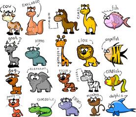 Большой набор мультфильм животных