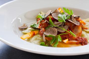 Black truffle ravioli pasta