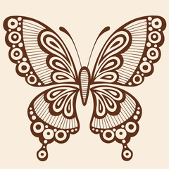Butterfly Silhouette Tattoo Vector Illustration Design Element