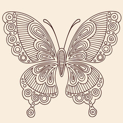Henna Tattoo Butterfly Doodle Vector Design