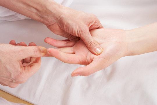 Detail hand reflexology massage