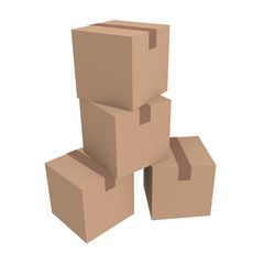 Cardboard boxes isolated on white, 3D image
