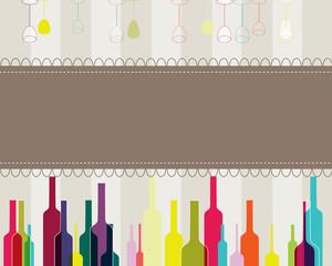Elegant colorful bottles and glasses illustration