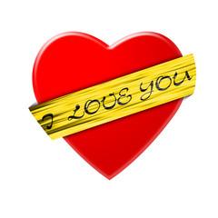 Сердце с жёлтой лентой