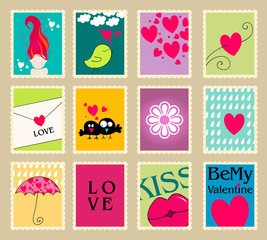 Set of cute Valentine's Day post stamps