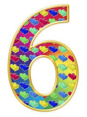 Цифра шесть со стилизованными сердечками на градиенте