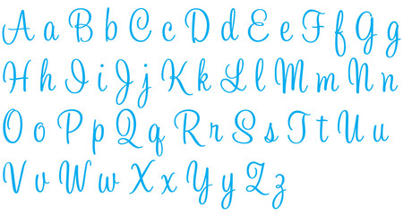 Sweetheart Blue Alphabet