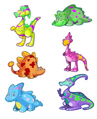 collection of cute colorful dino's