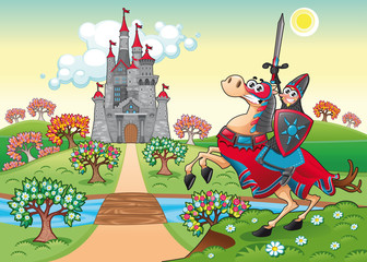 Fotorollo Ritter Panorama with medieval castle and knight. Vector illustration.
