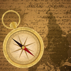 Antique sailor background with old grungy map and golden compass