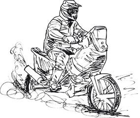 Sketch of motocross bike increase speed in track. Vector illustr