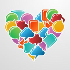 Social media bubbles love heart