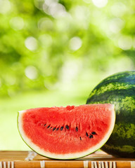 Juicy watermelon against natural background